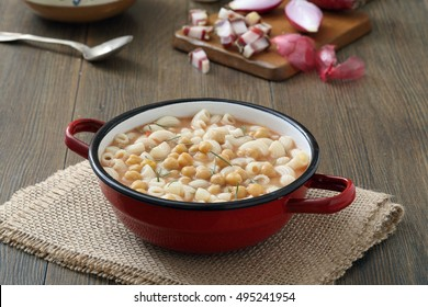 traditional italian pasta macaroni Pasta with chickpeas in metal pan