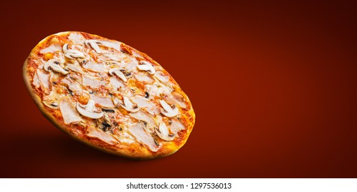 Traditional Italian pizza, copy space, mockup. Italian pizza recipe concept