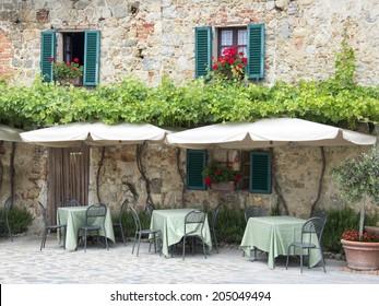 Traditional italian restaurant in Tuscany - Monteriggioni village