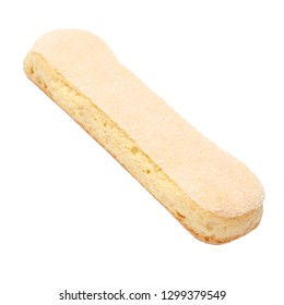 Traditional Italian Savoiardi ladyfingers Biscuits on White Background