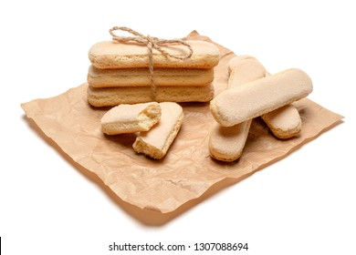 Traditional Italian Savoiardi ladyfingers Biscuits on craft paper