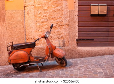 Traditional italian scooter - Vespa,  picture taken  29 July 2015 in Riva del Garda, Italy