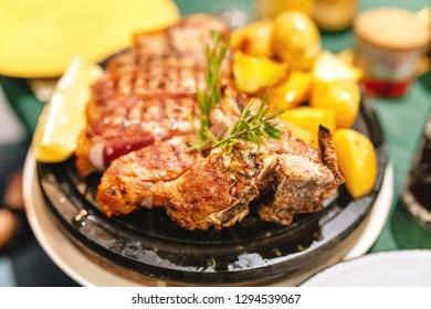 Traditional italian and tuscanian dish florentine steak in restaurant