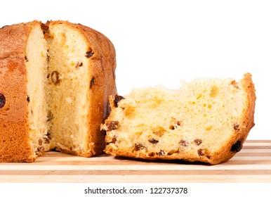 Traditional Italian Xmas cake isolated on white