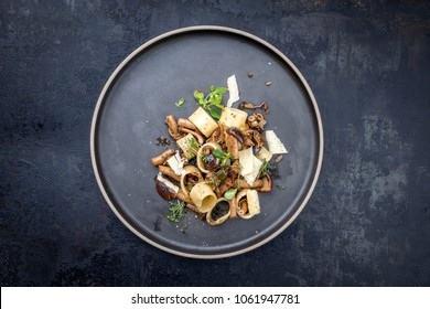 Traditional Italien calamarata noodles with mushroom and parmesan as top view on a plate with copy space