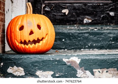 A traditional jackolantern out for Halloween on the streets of Alexandria, Virginia.