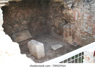 Traditional Jail of Paul; This is the traditional jail cell of the Apostle Paul and Silas in Philippi as told in Acts 16. This location is near the Bema seat and Agora along the Egnatian Way.