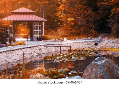 Traditional japan gazebo in red autumn park