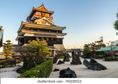 Traditional Japanese castle with zen garden in Nagoya