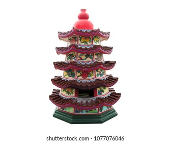 Traditional Japanese, Chinese, Asian pagoda building isolated on white background. Traditional Japanese, Chinese, Asian pagoda building,This has clipping path.