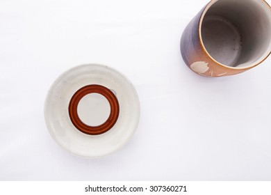 Traditional Japanese cup and saucer isolated on white background
