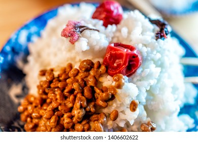 Traditional japanese dish plate in restaurant or home with, umeboshi and salted sakura flowers and fermented natto soybeans on pile of rice