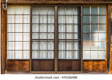 Traditional Japanese door with sliding wooden frame