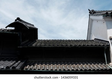 The traditional Japanese fireproof roof in Arimatsu, Aichi, Japan.