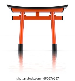 Traditional japanese floating torii gate over wavy reflective background - 3d illustration