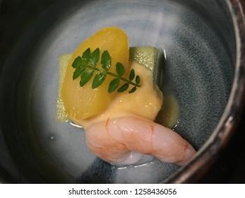 Traditional Japanese food, Kaiseki dinner served in Japanese ryokan