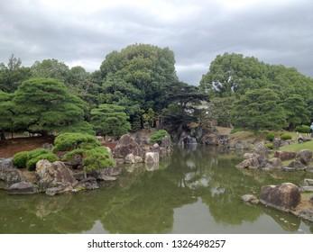 Traditional Japanese Garden designed by Kobori Enshu in Nijo Castle Ninomaru Palace in Kyoto, Japan