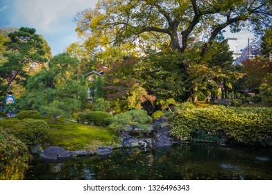 Traditional Japanese garden in Kyoto, Japan in autumn