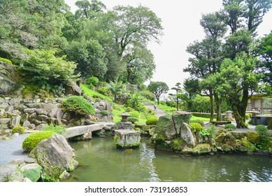 Traditional Japanese Garden Landscape of Senganen Garden in Kagoshima