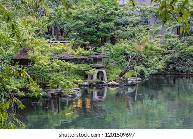 Traditional japanese garden or park chillout or meditation zone with lake and japan style lamps around