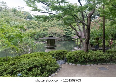 Traditional japanese garden or park chillout or meditation zone with bench, lake and japan style lamps around
