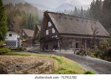 Traditional Japanese house in autumn season with the raining at Shirakawago, The world heritage.