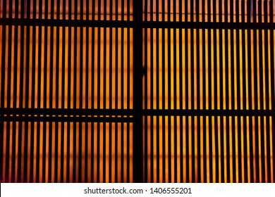Traditional japanese house sliding paper door with nobody architecture in Takayama, Japan at night and orange light