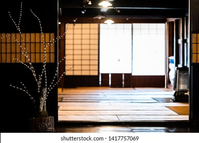 Traditional japanese house sliding paper door decorations with nobody architecture in Takayama, Japan in Hida no Sato old folk village