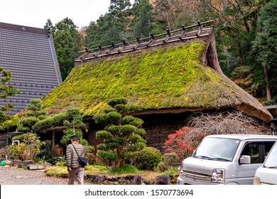 Traditional Japanese house with thatched leaf