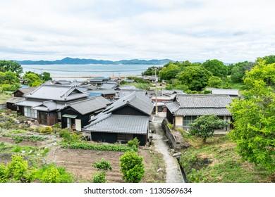 Traditional Japanese houses at Teshima island, Okayama perfecture, Japan