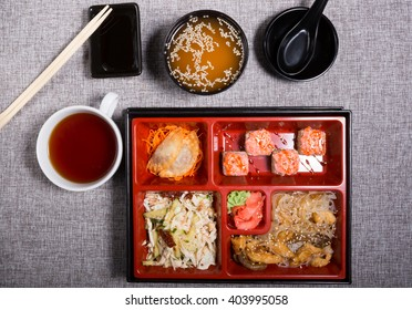 Traditional japanese lunch box set served on the table