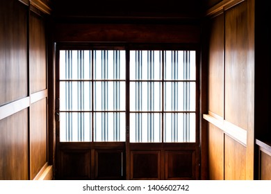 Traditional japanese machiya house or ryokan with sliding paper door entrance and light with nobody architecture