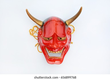 Traditional Japanese mask of a demon, Kabuki Mask on white background.