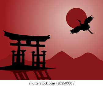 Traditional Japanese mountain landscape with temple gate and flying crane