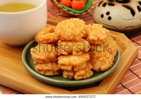 Traditional Japanese rice  crackers - senbei
