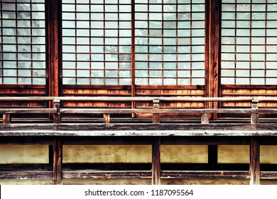 Traditional Japanese Sliding Door in temple of Japan, Made from wood or bamboo and attach paper. This image was blurred or selective focus.