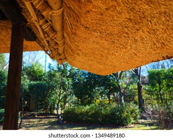 traditional Japanese style house inside of thatched roof
