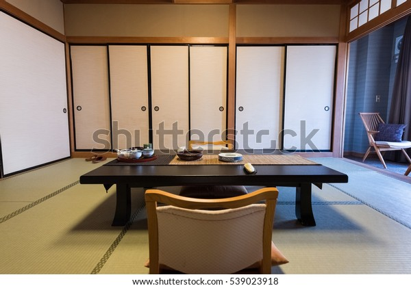Traditional Japanese Style Living Room Hotel Stock Photo ...