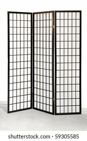 Traditional Japanese style tri fold wooden screen