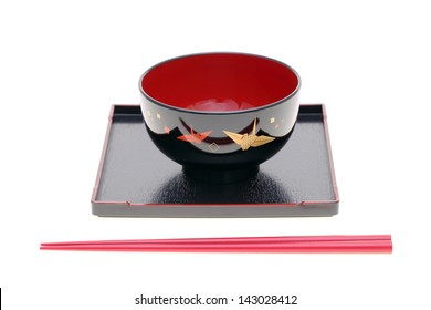 traditional Japanese tableware isolated on white background