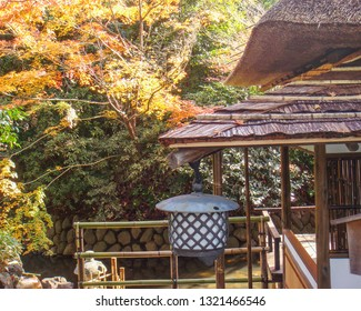 traditional Japanese tea house with thatched roof overlooks pond and maple leaves in full autumn color