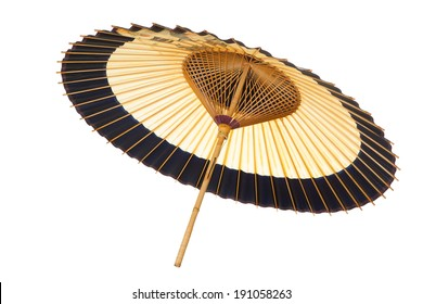 Traditional Japanese umbrella made of bamboo and paper.