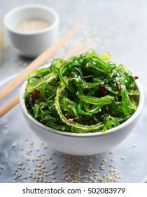 Traditional japanese  wakame salad with sesame