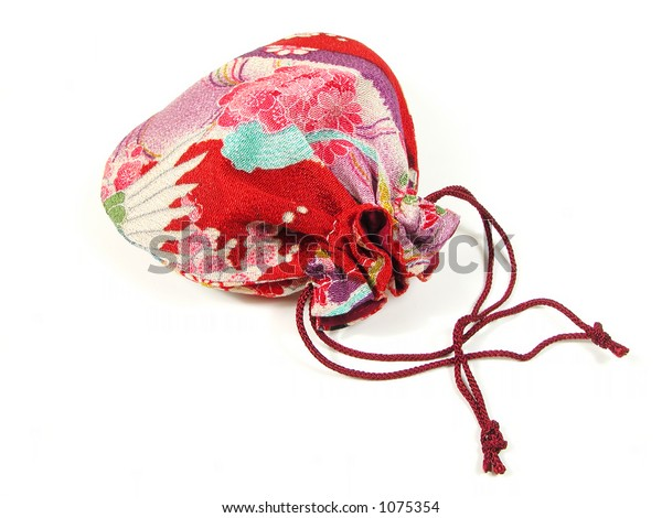 Traditional Japanese woman bag over white background