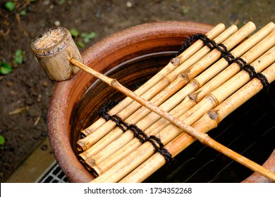 Traditional Japanese wooden bucket and laddle