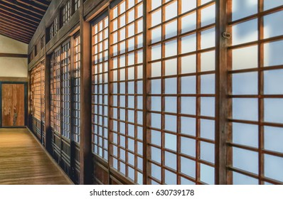 Traditional Japanese Wooden Frame And Rice Paper Wall