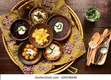 Traditional Javanese Dessert Porridge on Traditional Earthenware Dishes. Popular starter food for breaking the fast during Ramadan.
