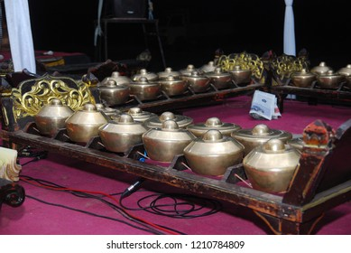 Traditional Javanese percussion instruments, Indonesia. Traditional musical instruments are used in wayang performances, kethoprak, jathilan and other traditional arts. Gamelan instruments.