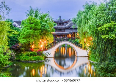 Traditional Jiangnan Style Pavilion And Bridge at Xixi National Wetland Park, Hangzhou, China