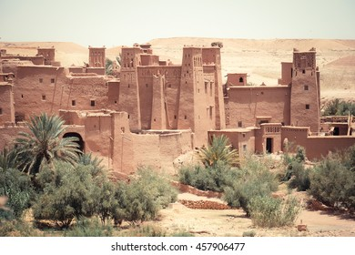 The traditional Kasbah fortress and berber houses in Ouarzazate Morocco. Traditional Moroccan house
